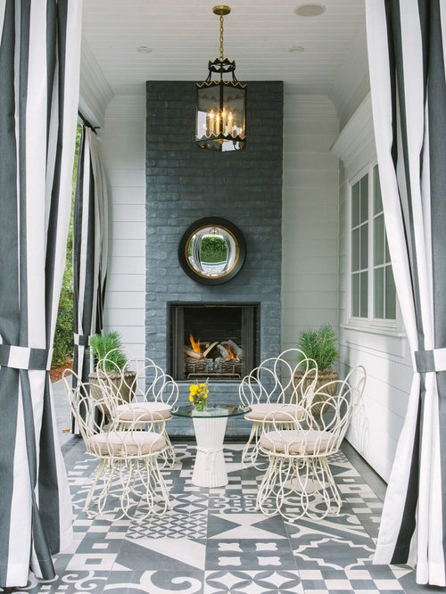 Cottage Chic Patio Photo In New York With A Fire Pit And A Roof Extension