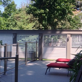 Inspiration for a mid-sized rustic backyard patio remodel in Dallas with decking and no cover