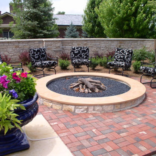 Patio   Traditional Brick Patio Idea In Denver With A Fire Pit