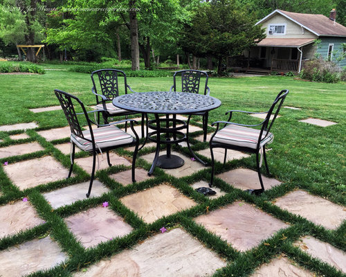 Superb Mid Sized Mountain Style Backyard Stone Patio Photo In New York