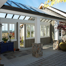 Eclectic Patio by Dan Nelson, Designs Northwest Architects