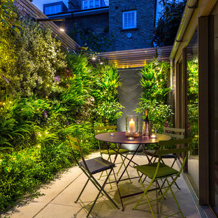 Inspiration for a small contemporary back patio in London with a living wall and natural stone paving.