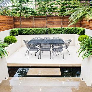 На фото: дворик среднего размера на заднем дворе в современном стиле с растениями в контейнерах с