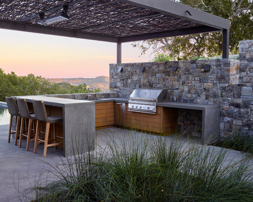 Trendy Concrete Patio Kitchen Photo In San Francisco With A Gazebo