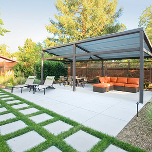Example of a mid-sized trendy backyard concrete paver patio design in San Francisco