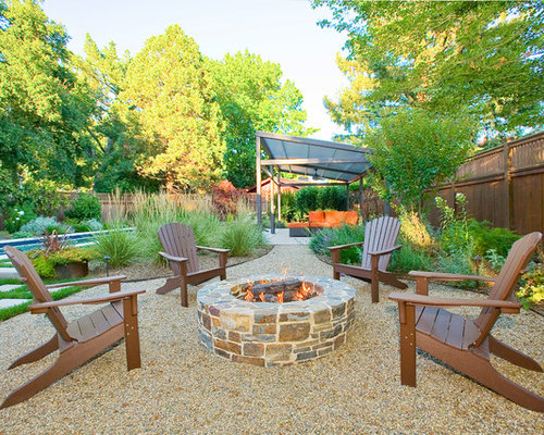 Trendy Backyard Patio Photo In San Francisco With A Fire Feature