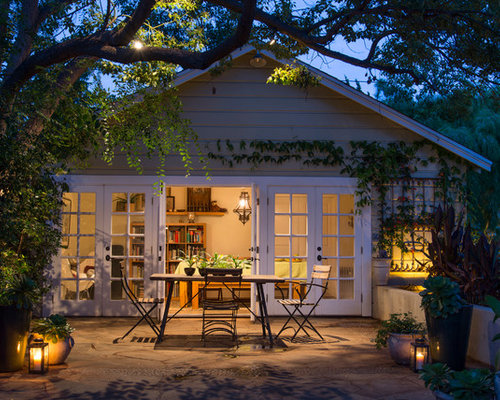 subtle lighting. Patio - Small Transitional Backyard Stone Idea In Los Angeles Subtle Lighting