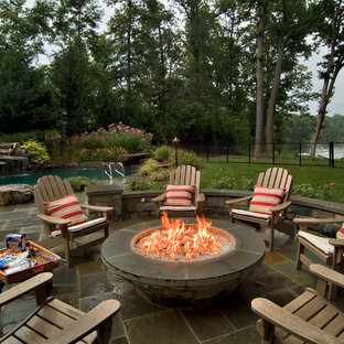 Example Of A Classic Patio Design In DC Metro With A Fire Pit And No Cover