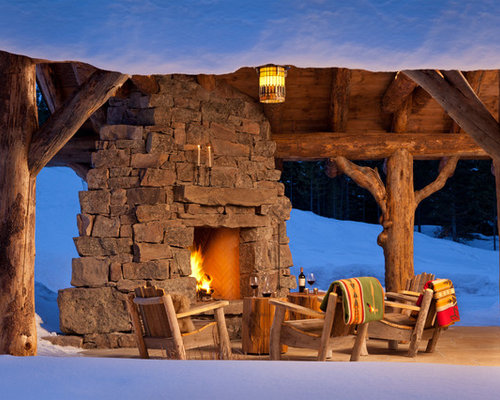 Rustic Outdoor Fireplace Home Design Ideas Pictures
