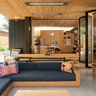 Inspiration for a midcentury modern concrete patio remodel in Denver with a roof extension