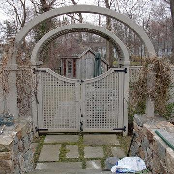 Square Lattice Fence & Scalloped Gate with Arbor