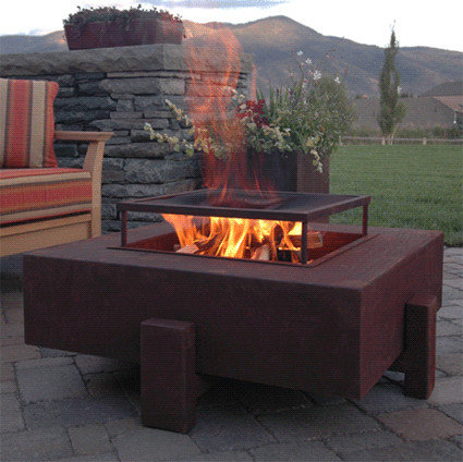 Raised fire pit houzz for Fireplace on raised deck