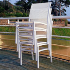 Stacking Outdoor Dining Chairs - Stacking outdoor dining chairs.