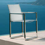 Stainless Steel Outdoor Dining Chair - This elegant outdoor dining chair has a stainless steel frame with Batyline seat and back.