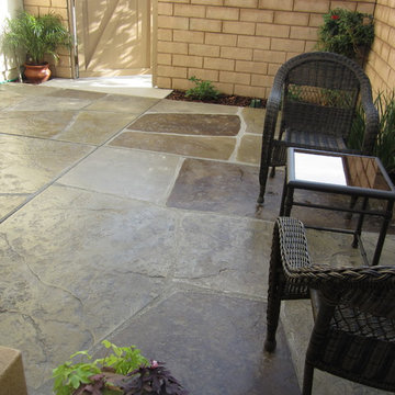 """Stamped and colored concrete """"imported stone"""" patio"""
