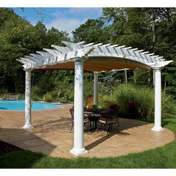 Standard Arched Poolside Pergola with Canopy Extended