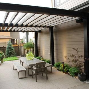 Imagen de patio minimalista, de tamaño medio, en patio trasero, con losas de hormigón y pérgola