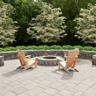 Stone Fire Ring and Seating Wall