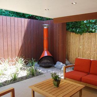 Idée de décoration pour une terrasse arrière minimaliste avec un foyer extérieur, une dalle de béton et une extension de toiture.