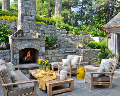 Example Of A Classic Patio Design In DC Metro With A Fire Feature