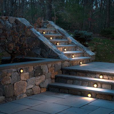 Example of a classic backyard patio design in Boston