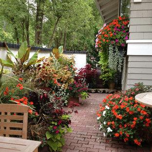 Immagine di un patio o portico tropicale in cortile con un giardino in vaso