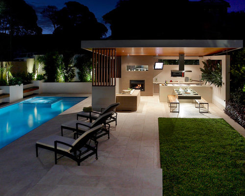 nautical pool and outdoor kitchen photos