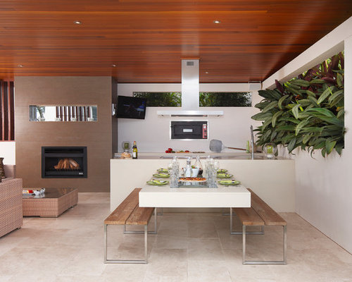 Example Of A Mid Sized Trendy Courtyard Patio Design In Sydney With A Fire  Pit