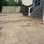 Techo Bloc Patio With Fire Pit And Custom Trex Landing And