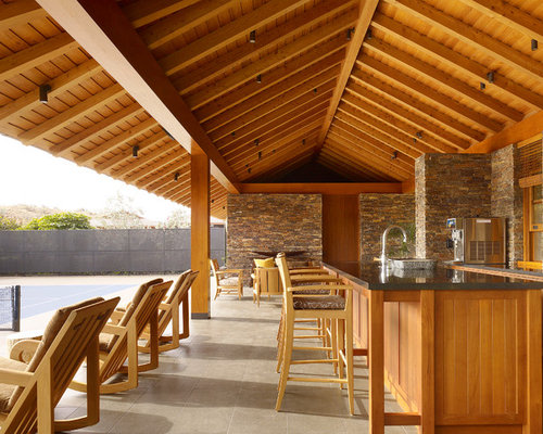 Outdoor Cabana Bar And Bathroom Houzz