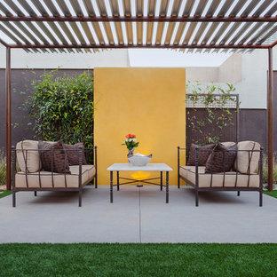Cette photo montre une grande terrasse arrière moderne avec un gazebo ou pavillon.