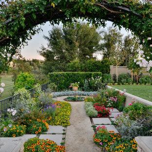 Foto di un ampio patio o portico mediterraneo dietro casa con un giardino in vaso, pavimentazioni in cemento e una pergola