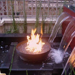 The Font O' Fire 30 inch Sculptural Firebowl - The Font O' Fire is perhaps my most versatile firebowl, equally at home in a wide variety of settings from rural to urban, rustic to high modern. Cradled in this shallow form, flames burn close, in an intimate display.