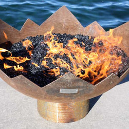 The Great Flaming Lotus 37 inch Sculptural Firebowl - The Great Flaming Lotus offers a contemplative centerpiece, a modern mandala, a flower of the enlightened mind. Lauded by poets, priests and chieftains, the lotus flower is rich in historic mystical symbolism.