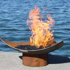 The Isosceles Modern Sculptural Firebowl - The Isosceles Modern is a visual haiku, a simple shape resonant as the notes of a triad forming the roots of a musical chord. Pure minimalism, this smooth shallow contour connects elements of nature, art and geometry, paring them down to only the most essential expression in form.
