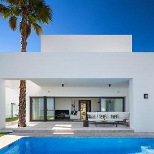 Imagen de patio moderno, grande, en patio trasero y anexo de casas, con losas de hormigón