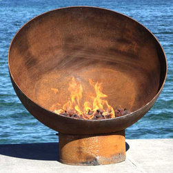 """The Meridian 37 inch Sculptural Firebowl - The Meridian's canted bowl is a study in balance and an homage to the phases of the moon. I love the way the crescent form of this bowl changes from different angles, just as the moon waxes and wanes. This firebowl is a perfect illustration of Nathaniel Hawthorne's statement, """"Moonlight is sculpture."""""""
