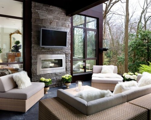 Indoor Outdoor Fireplace Home Design Ideas Pictures