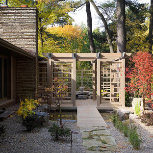 Patio fountain - mid-sized contemporary courtyard gravel patio fountain idea in Toronto with a pergola
