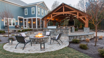 Timber Frame Outdoor Kitchen, Dining & Family Room