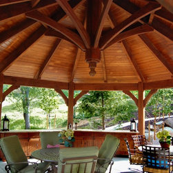 Timber Frame Pergolas & Gazebo Combination for Shade - Timber framed gazebo with outdoor cupboards and furniture. Built with the proven more durable old world timber framed dovetail mortise and tenon design without unsightly hardware.