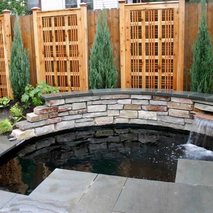 Tiny yard with koi pond