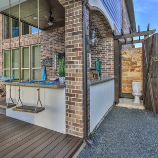 Photo of a medium sized coastal back patio in Houston with an outdoor kitchen, decking and a gazebo.