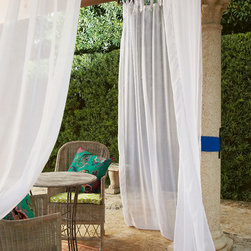 Summer Porch Sheer Panels - Gracious living - indoors or out - calls for our lightweight Summer Porch Sheer panels that catch the balmy breezes and allow just enough privacy, adding custom cabana style to the patio, porch or any room. Generously long top ties add a casual, carefree attitude. Outdoor friendly polyester in white.