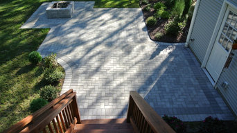 Traditional Herringbone Patio and Firepit