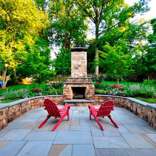 Traditional Patio and Fireplace