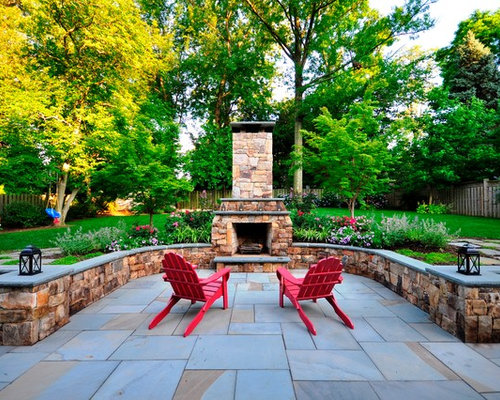 Example Of A Large Classic Backyard Patio Design In DC Metro With Natural  Stone Pavers And