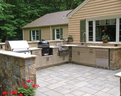 Outdoor kitchen with green egg grill houzz for Outdoor stone kitchen designs