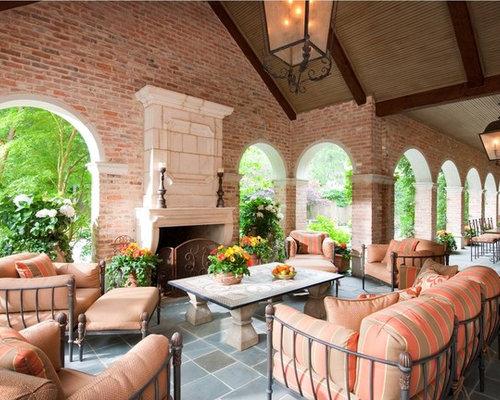 Example Of A Huge Classic Backyard Stone Patio Design In Dallas With A Fire  Pit And