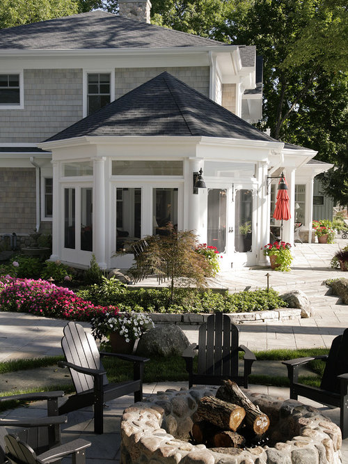 Front Yard Porch Ideas Part - 23: Huge Elegant Front Yard Stamped Concrete Patio Photo In Other With A Fire  Pit And A